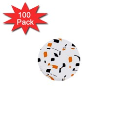 Orange, white and black pattern 1  Mini Buttons (100 pack)