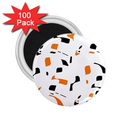 Orange, white and black pattern 2.25  Magnets (100 pack)