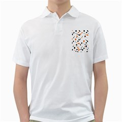 Orange, white and black pattern Golf Shirts