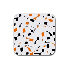 Orange, white and black pattern Rubber Square Coaster (4 pack)