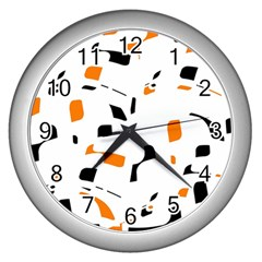 Orange, white and black pattern Wall Clocks (Silver)
