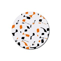 Orange, white and black pattern Rubber Round Coaster (4 pack)