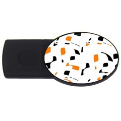 Orange, white and black pattern USB Flash Drive Oval (2 GB)