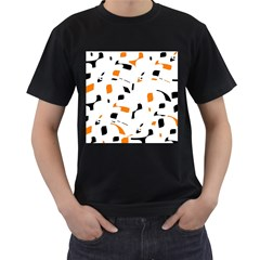 Orange, white and black pattern Men s T-Shirt (Black) (Two Sided)