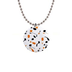 Orange, white and black pattern Button Necklaces