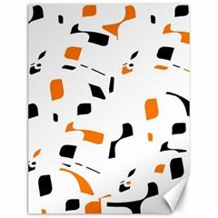 Orange, white and black pattern Canvas 12  x 16