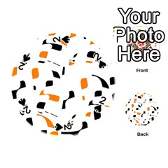 Orange, white and black pattern Playing Cards 54 (Round)
