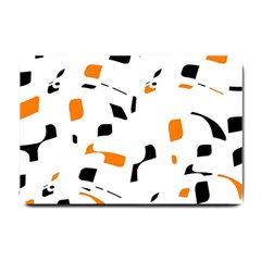 Orange, white and black pattern Small Doormat