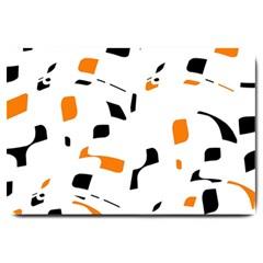 Orange, white and black pattern Large Doormat
