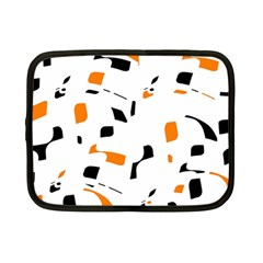 Orange, white and black pattern Netbook Case (Small)