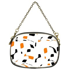 Orange, white and black pattern Chain Purses (One Side)