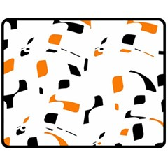 Orange, white and black pattern Fleece Blanket (Medium)