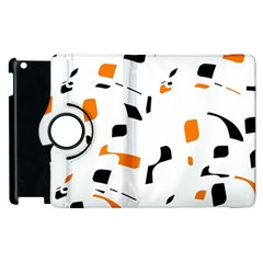 Orange, white and black pattern Apple iPad 2 Flip 360 Case