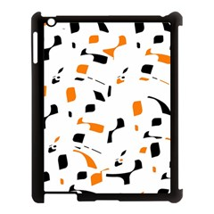 Orange, white and black pattern Apple iPad 3/4 Case (Black)