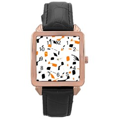 Orange, white and black pattern Rose Gold Leather Watch