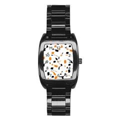 Orange, white and black pattern Stainless Steel Barrel Watch