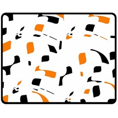 Orange, white and black pattern Double Sided Fleece Blanket (Medium)