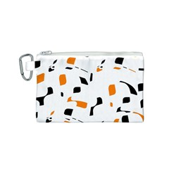 Orange, white and black pattern Canvas Cosmetic Bag (S)