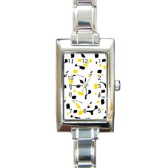 Yellow, black and white pattern Rectangle Italian Charm Watch
