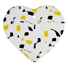 Yellow, black and white pattern Ornament (Heart)