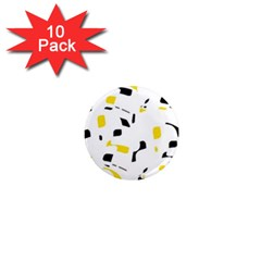 Yellow, black and white pattern 1  Mini Magnet (10 pack)