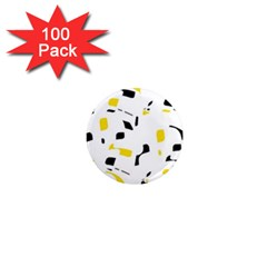 Yellow, black and white pattern 1  Mini Magnets (100 pack)