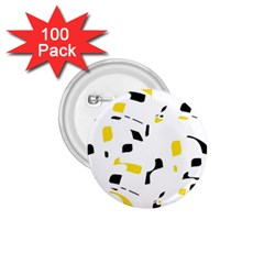 Yellow, black and white pattern 1.75  Buttons (100 pack)