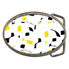 Yellow, black and white pattern Belt Buckles