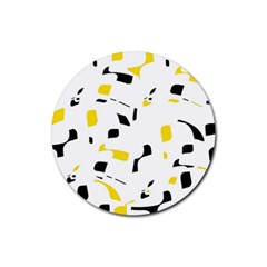 Yellow, black and white pattern Rubber Coaster (Round)