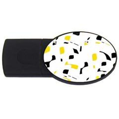Yellow, black and white pattern USB Flash Drive Oval (2 GB)