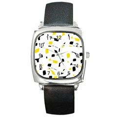 Yellow, black and white pattern Square Metal Watch