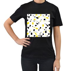 Yellow, black and white pattern Women s T-Shirt (Black) (Two Sided)