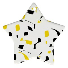 Yellow, black and white pattern Star Ornament (Two Sides)