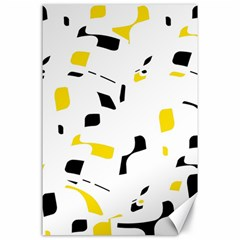 Yellow, black and white pattern Canvas 24  x 36