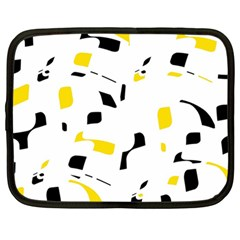 Yellow, black and white pattern Netbook Case (Large)