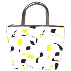 Yellow, black and white pattern Bucket Bags
