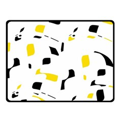 Yellow, black and white pattern Fleece Blanket (Small)