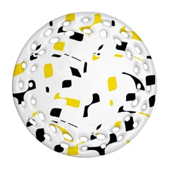 Yellow, black and white pattern Round Filigree Ornament (2Side)