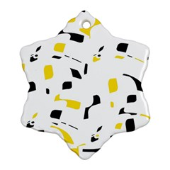 Yellow, black and white pattern Snowflake Ornament (2-Side)