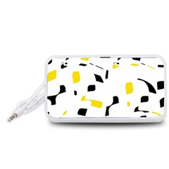 Yellow, black and white pattern Portable Speaker (White)