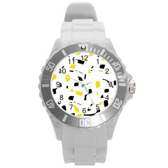 Yellow, black and white pattern Round Plastic Sport Watch (L)