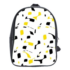 Yellow, black and white pattern School Bags (XL)