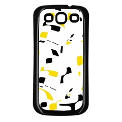 Yellow, black and white pattern Samsung Galaxy S3 Back Case (Black)