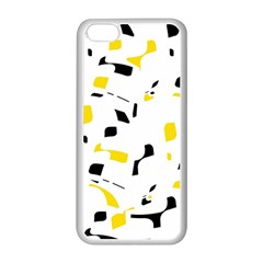 Yellow, black and white pattern Apple iPhone 5C Seamless Case (White)