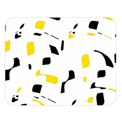 Yellow, black and white pattern Double Sided Flano Blanket (Large)