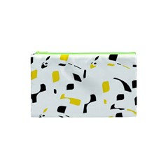 Yellow, black and white pattern Cosmetic Bag (XS)
