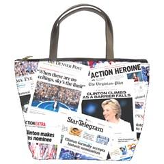 Hillary 2016 Historic Front Pages & Headlines Bucket Handbag