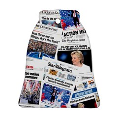Hillary 2016 Historic Newspaper Collage Bell Ornament (2 Sides)
