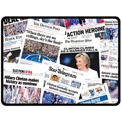 Hillary 2016 Historic Newspaper Collage Double Sided Fleece Blanket (Large)