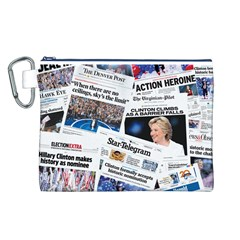 Hillary 2016 Historic Newspaper Collage Canvas Cosmetic Bag (L)